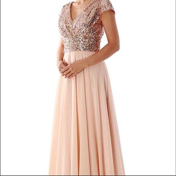 MACloth Dresses | Rose Gold Sequin Peach Chiffon Bridesmaid Dress ...